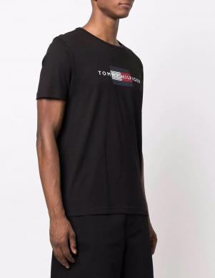 TOMMY HILFIGER vīriešu melns kokvilnas krekls