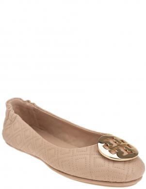 TORY BURCH sieviešu krēmīgas krāsas ādas balerīnas apavi QUILTED MINNIE WITH