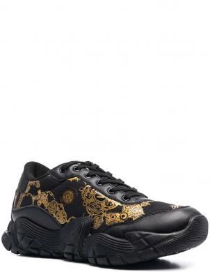 VERSACE JEANS COUTURE vīriešu melni ādas ikdienas apavi FONDO IMPULSE DIS.