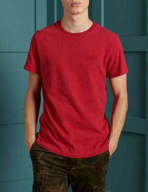SUPERDRY vīriešu sarkans kokvilnas krekls ORGANIC COTTON VINTAGE EMBROIDERED T-SHIRT