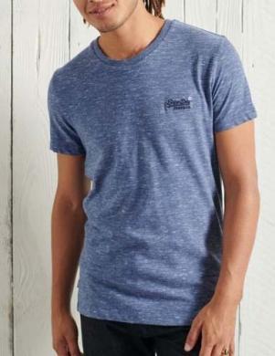 SUPERDRY vīriešu gaiši zils kokvilnas krekls ORGANIC COTTON VINTAGE EMBROIDERED T-SHIRT