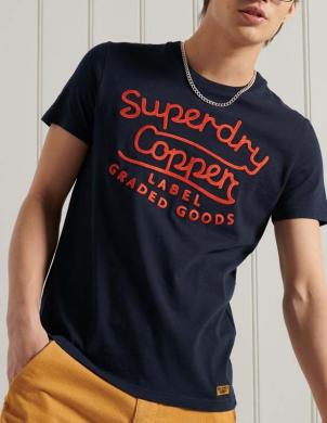 SUPERDRY vīriešu tumši zils kokvilnas krekls ar uzrakstu WORKWEAR GRAPHIC T-SHIRT