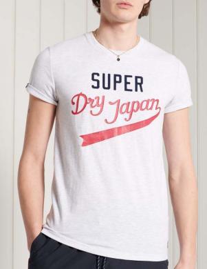 SUPERDRY vīriešu balts kokvilnas krekls COLLEGIATE GRAPHIC T-SHIRT