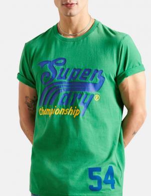 SUPERDRY vīriešu zaļš kokvilnas krekls COLLEGIATE GRAPHIC T-SHIRT