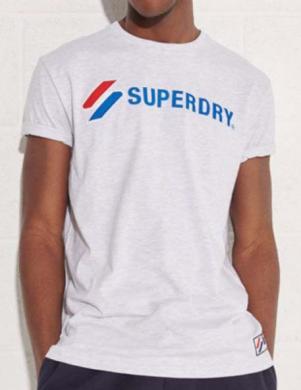 SUPERDRY vīriešu pelēks kokvilnas krekls SPORTSTYLE APPLIQUE T-SHIRT