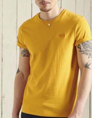 SUPERDRY vīriešu dzeltens kokvilnas krekls VINTAGE LOGO EMB T-SHIRT