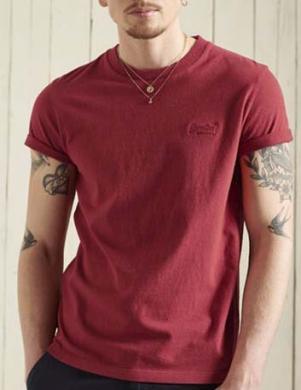 SUPERDRY vīriešu sarkans kokvilnas krekls VINTAGE LOGO EMB T-SHIRT