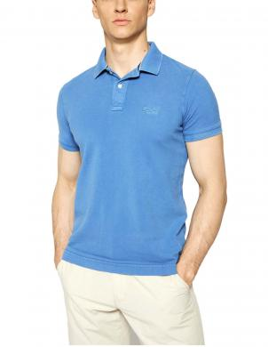 SUPERDRY vīriešu zils kokvilnas polo krekls VINTAGE DESTROYED PIQUE POLO SHIRT