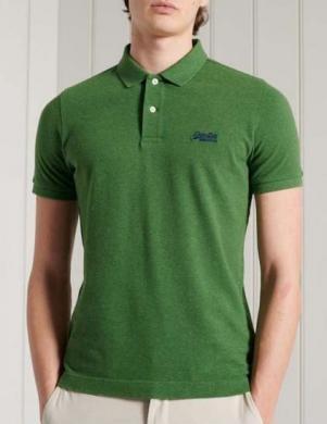 SUPERDRY vīriešu zaļš kokvilnas polo krekls ORGANIC COTTON SHORT SLEEVE PIQUE POLO SHIRT