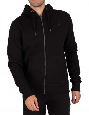 SUPERDRY vīriešu melns džemperis ar kapuci OL CLASSIC ZIP HOOD SWEATER