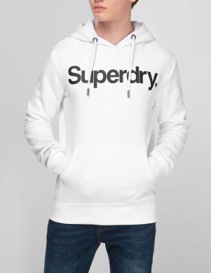 SUPERDRY vīriešu balts džemperis ar kapuci un logotipu CORE LOGO HOODIE