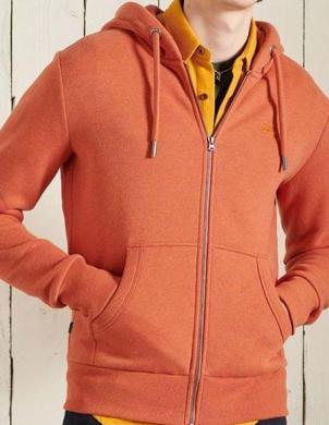 SUPERDRY vīriešu oranžs džemperis ar kapuci un rāvējslēdzēju OL CLASSIC ZIP HOOD IN RUST