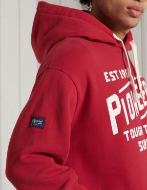 SUPERDRY vīriešu sarkans džemperis ar kapuci HERITAGE MOUNTAIN GRAPHIC HOODIE
