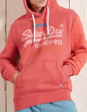SUPERDRY vīriešu sarkans džemperis ar kapuci VINTAGE LOGO TRI OVERHEAD HOODIE