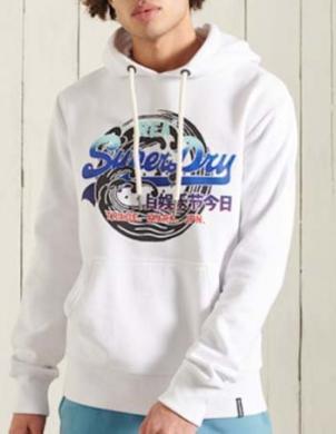 SUPERDRY vīriešu balts džemperis ar kapuci VINTAGE LOGO ITAGO HOODIE