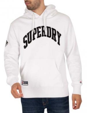 SUPERDRY vīriešu balts džemperis ar kapuci VARSITY ARCH MONO PULLOVER HOODIE