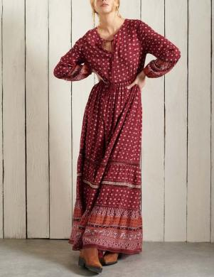 SUPERDRY sieviešu tumši sarkana rakstaina gara kleita BASIC W AMEERA MAXI DRESS