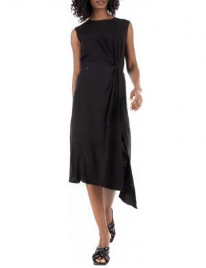 SUPERDRY sieviešu melna midi kleita FLASH W ECOVERO TWIST DRESS