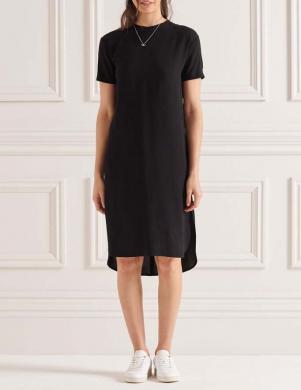 SUPERDRY sieviešu melna midi kleita CURVE HEM SHIFT DRESS