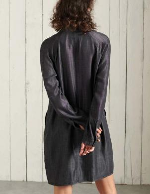 SUPERDRY sieviešu melna īsa kleita ar kabatām TENCEL OVERSIZED SHIRT DRESS