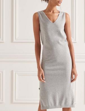 SUPERDRY sieviešu pelēka pieguļoša gara kleita V-NECK KNITTED DRESS