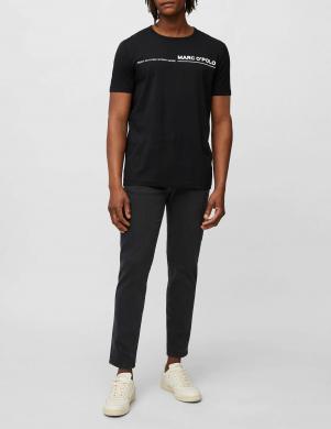 MARC O POLO vīriešu melns kokvilnas krekls ar īsām piedurknēm