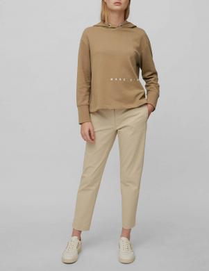 MARC O POLO sieviešu gaiši brūns kokvilnas džemperis ar kapuci