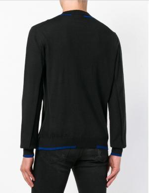 VERSACE JEANS melns vilnas vīriešu džemperis