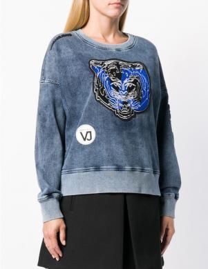 VERSACE JEANS zils sieviešu džemperis ar aplikāciju