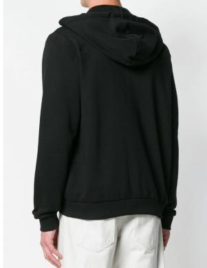 VERSACE JEANS melns vīriešu džemperis ar rāvējslēdzēju