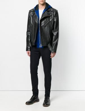 VERSACE JEANS ādas melnas krāsas vīriešu jaka