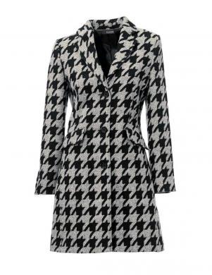 CLASS INTERNATIONAL melnas/baltas krāsas stilīgs sieviešu mētelis ar vilnu