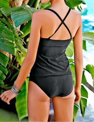 HEINE divu daļu melnas krāsas sieviešu peldkostīms