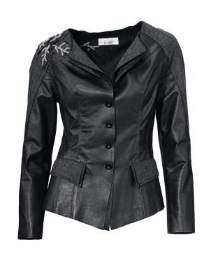 LINEA TESINI ādas melnas krāsas sieviešu jaka