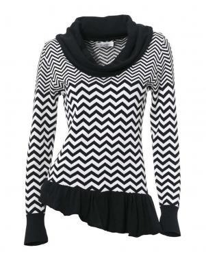 LINEA TESINI melnas/baltas krāsas skaists sieviešu džemperis