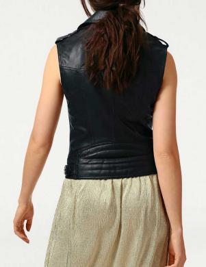 Sieviešu melna dabīgas ādas baikeru stila veste HEINE - BEST CONNECTIONS