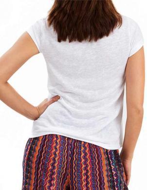 JOE BROWNS baltas krāsas sieviešu krekls ar īsām piedurknēm