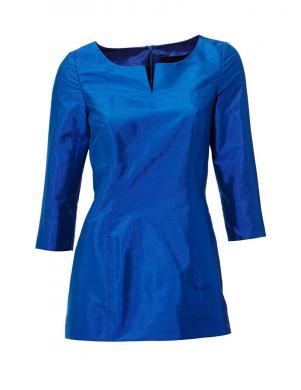 S. MADAN skaista zilas krāsas zīda sieviešu blūze