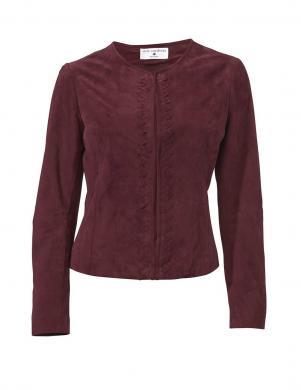 RICK CARDONA bordo krāsas zamšādas sieviešu jaka