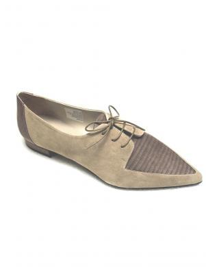 Smilšu krāsas sieviešu apavi ar šņorēm PATRIZIA DINI