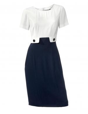 S.MADAN eleganta, baltas, zilas krāsas sieviešu kleita