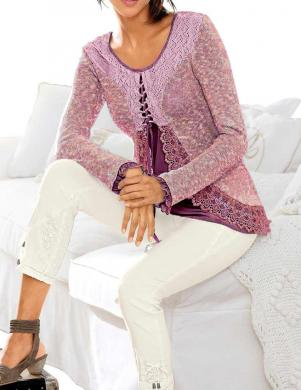 Romantiska stila rozā džemperis ar mežģīnēm FAIR LADY