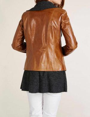 Ādas brūna jaka ar vilnas džempera imitāciju HEINE