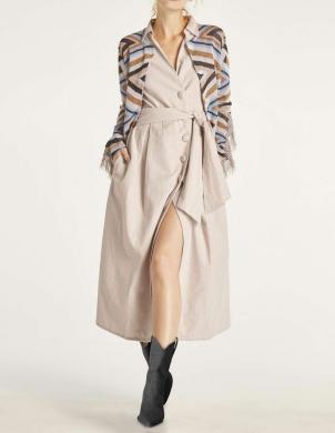 Smilšu krāsas kleita ar linu HEINE