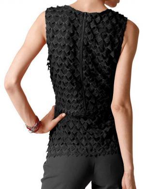 Eleganta mežģīņu melnas krāsas blūze ALBA MODA