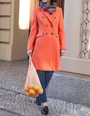 Oranžs vilnas mētelis ar kašmiru HEINE