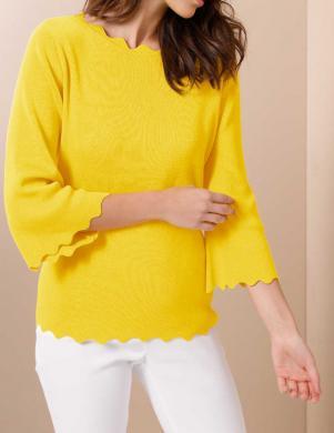 Stilīgs dzeltens džemperis ar zīdu CREATION L PREMIUM