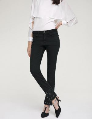 Grezni paplatināti sieviešu melni džinsi slim-fit HEINE
