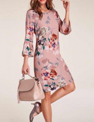 Rozā puķaina kleita ar volāniem HEINE