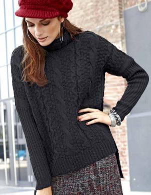 TAMARIS melnas krāsas stilīgs sieviešu džemperis
